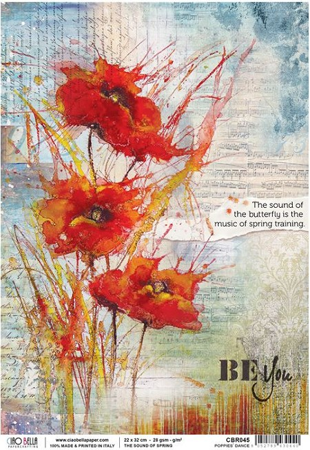 Ciao Bella - The Sound of Spring collection - Piuma Rice Paper - Poppies' dance