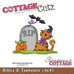 Cottage Cutz-4x4 Dies-Kitty & Tombstone