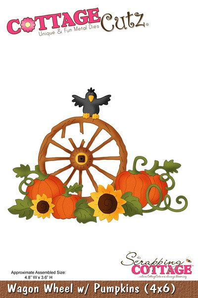 Cottage Cutz-Die-Wagon Wheel & Pumpkins