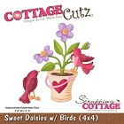 Cottage Cutz - 4x4 Dies - Sweet Daisies w/ Birds