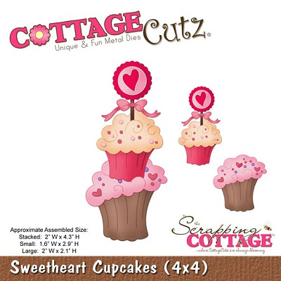Cottage Cutz - 4x4 Dies - Sweetheart Cupcakes