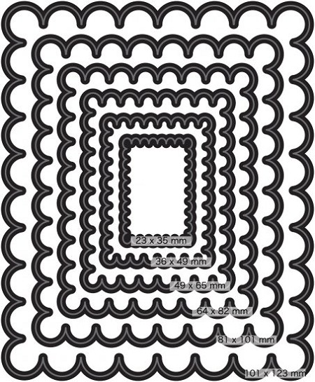 Couture Creations - Nesting Die - (Set of 6)  - Scallop Rectangle