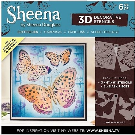 "Crafter's Companion - 6""x6"" 3D Stencil Set by Sheena Douglass - Butterfly"