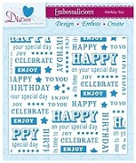 "Die'sire Embossalicious 6""x6"" Embossing Folder - Birthday Text"