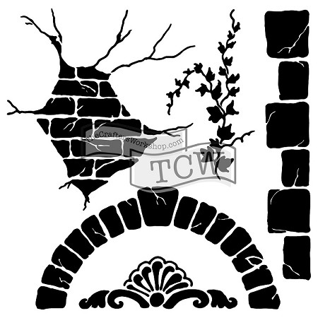 "The Crafter's Workshop 12""x12"" Stencil -  Tuscan Wall"