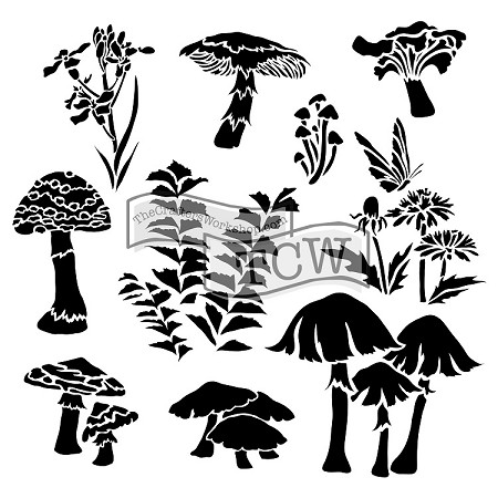 "The Crafter's Workshop 12""x12"" Stencil -  Whimsical Shrooms"