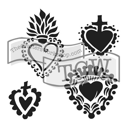 "The Crafter's Workshop 12""x12"" Stencil - Regal Hearts"