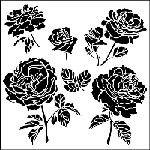 "The Crafter's Workshop 12""x12"" Stencil - Cabbage Roses"
