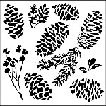 "The Crafter's Workshop 12""x12"" Stencil - Pinecones"
