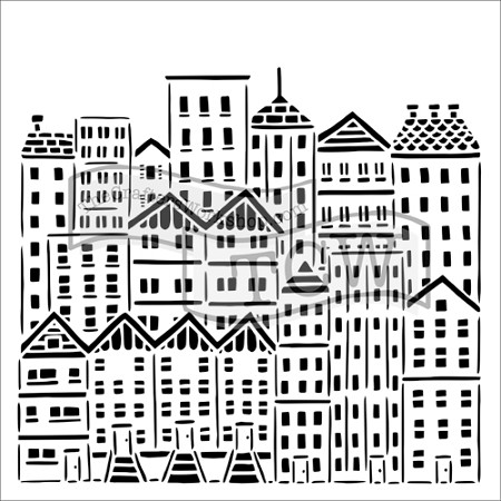 "The Crafter's Workshop 6""x6"" Stencil - City Buildings"