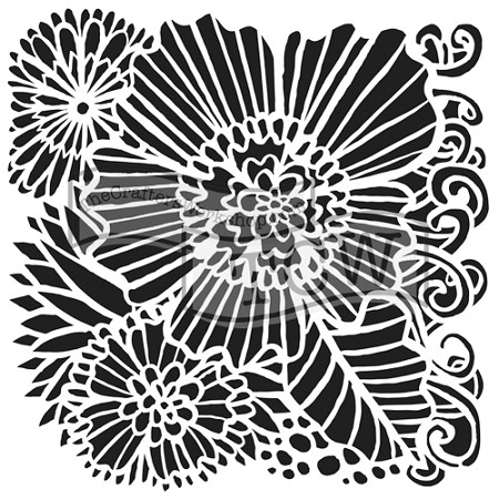 "The Crafter's Workshop 6""x6"" Stencil - Dahlia Blooms"