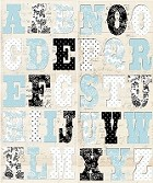 Creative Imaginations - Narratives - by Karen Russel - Chipboard Alphabet - French Blue Bell