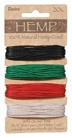 Darice-Hemp Cord-20# Primary - (30 feet each of 4 colors)