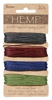 Darice-Hemp Cord-20# Earthy Pastel - (30 feet each of 4 colors)