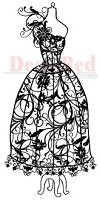 Deep Red Stamps - Cling Stamp - Dress Form Floral Corsage