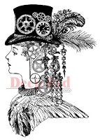Deep Red Stamps - Cling Stamp - Steampunk Lady Captain