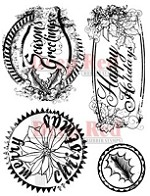 Deep Red Stamps - Cling Stamp - Holiday Grunge Seals