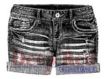 Deep Red Stamps - Cling Stamp - Denim Shorts