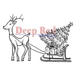Deep Red Stamps - Cling Stamp - Reindeer with Gifts