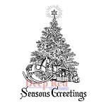 Deep Red Stamps - Cling Stamp - Season's Greetings Tree
