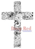 Deep Red Stamps - Cling Stamp - Floral Cross