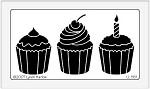 Dreamweaver Large Brass Stencil - Three Cupcakes