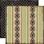 "Echo Park - Chillingsworth Manor - 12""x12"" Cardstock - Damask Stripe"