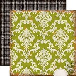 "Echo Park - Chillingsworth Manor - 12""x12"" Cardstock - Green Damask"