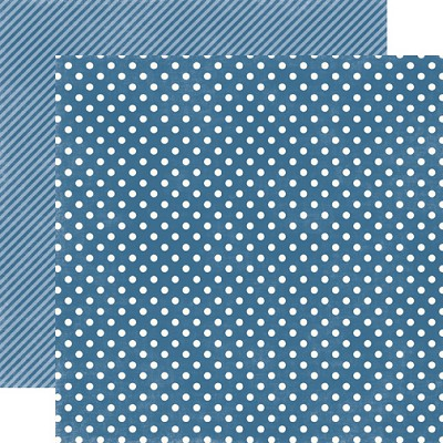 "Echo Park - Dots & Stripes Homefront 12""x12"" paper - Blueberry Small Dots"