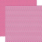"Echo Park - Mini Themes - Pretty in Pink - 12""x12"" Double Sided Paper - Pink Chevron"