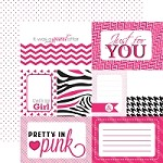 "Echo Park - Mini Themes - Pretty in Pink - 12""x12"" Double Sided Paper - Pink Journaling"