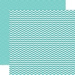 "Echo Park - Mini Themes - Totally Teal - 12""x12"" Double Sided Paper - Teal Chevron"