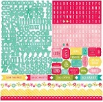 "Echo Park - Sweet Girl Collection - 12""x12"" Stickers Sheet - Alphabet"