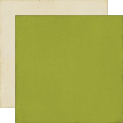 Echo Park - Distressed Solid 12x12 paper - Green/Cream