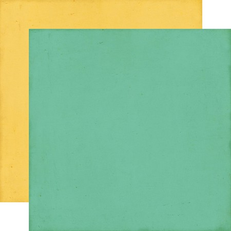 Echo Park - Distressed Solid 12x12 paper - Teal/Yellow