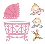 Marianne Design - Collectables Die & Stamp Set - Eline's Baby Crib