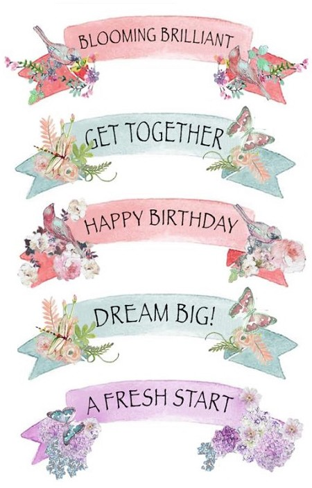 Fab scraps charms of spring collection sayings clear stickers
