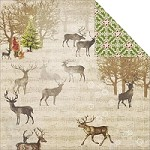 "Fab Scraps - Christmas Joy Collection - 12""x12"" Double Sided Cardstock - Reindeer"