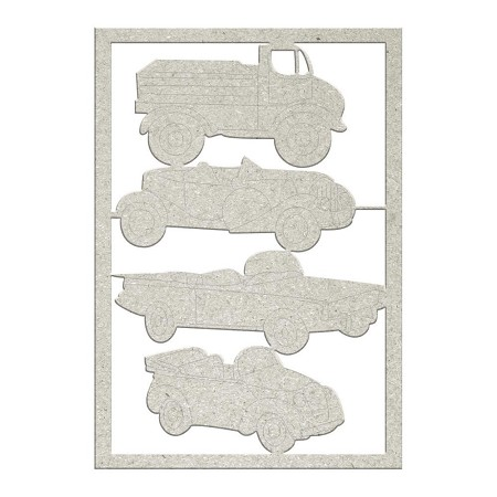Fab Scraps - Sweet Baby Collection - Die-Cut Chipboard Embellishment - Vintage cars