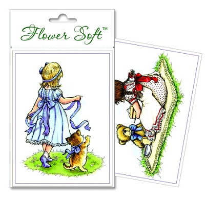 Flower Soft-Card Topper-Moments in Time-Girls Playing