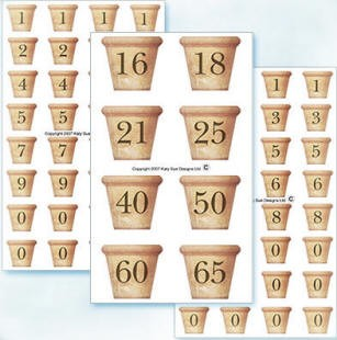 Flower Soft-Card Topper-Number Pots