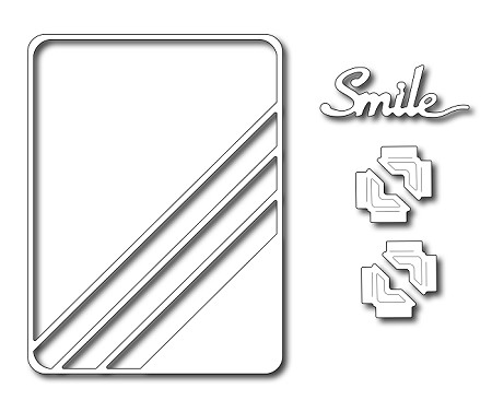 Frantic Stamper - Precision Dies - Diagonal Stripe 3x4 Photo Card (set of 6 dies)