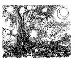 Frantic Stamper Cling-Mounted Rubber Stamp - Van Gogh's Starry Night