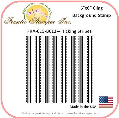 Frantic Stamper - 6x6 Background Rubber Stamp - Ticking Stripes