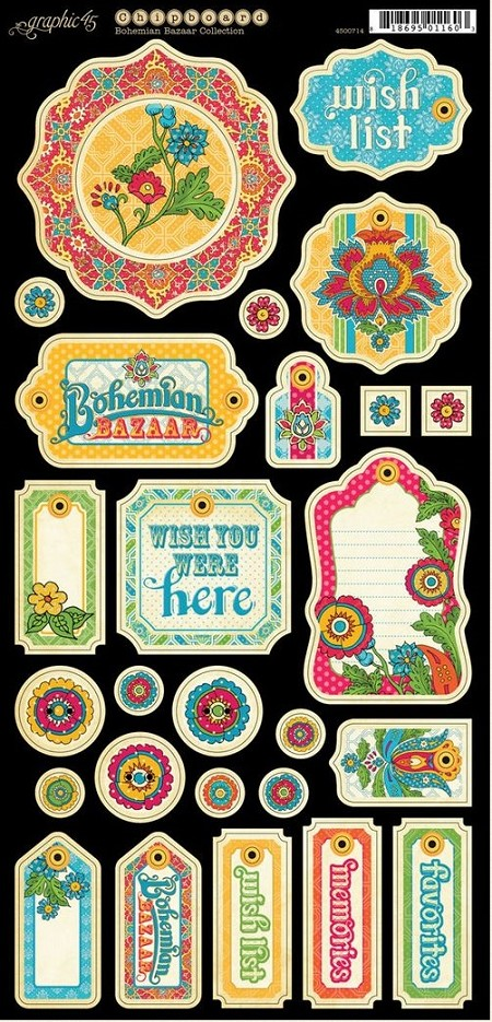 Graphic 45 - Bohemian Bazaar Collection - Chipboard Die Cuts 1
