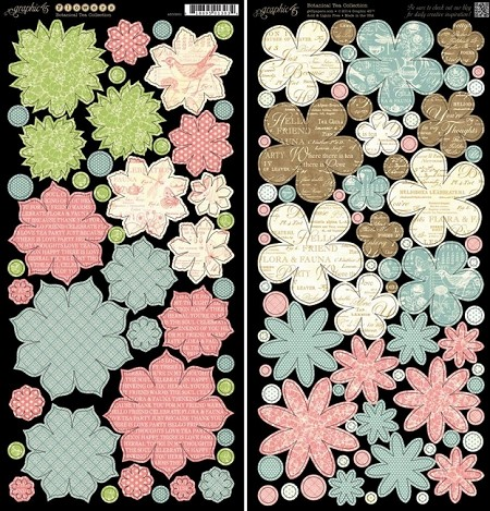 Graphic 45 -Botanical Tea Collection - Die Cut Cardstock - Flowers