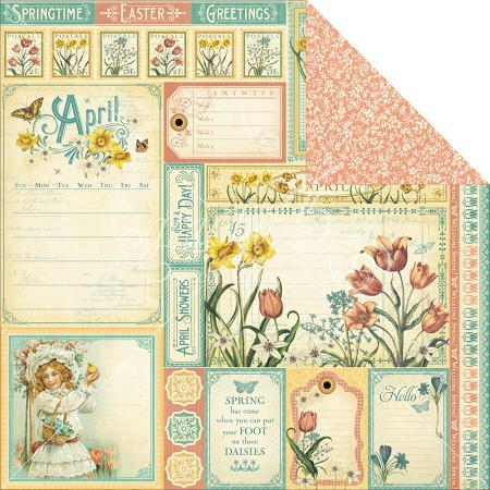 "Graphic 45 - Time to Flourish Collection - 12""x12"" cardstock - April Cut Apart"