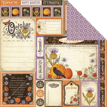 "Graphic 45 - Time to Flourish Collection - 12""x12"" cardstock - October Cut Apart"