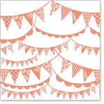 "Hambly Studio 12"" x 12"" overlays - Pennants - Coral"