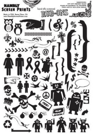 Hambly studios rub ons - Dingbats Black